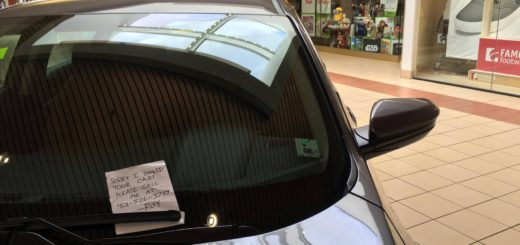 Thanks for restoring my faith in humanity and leaving a note when you ding a car in the mall, Sunshine!